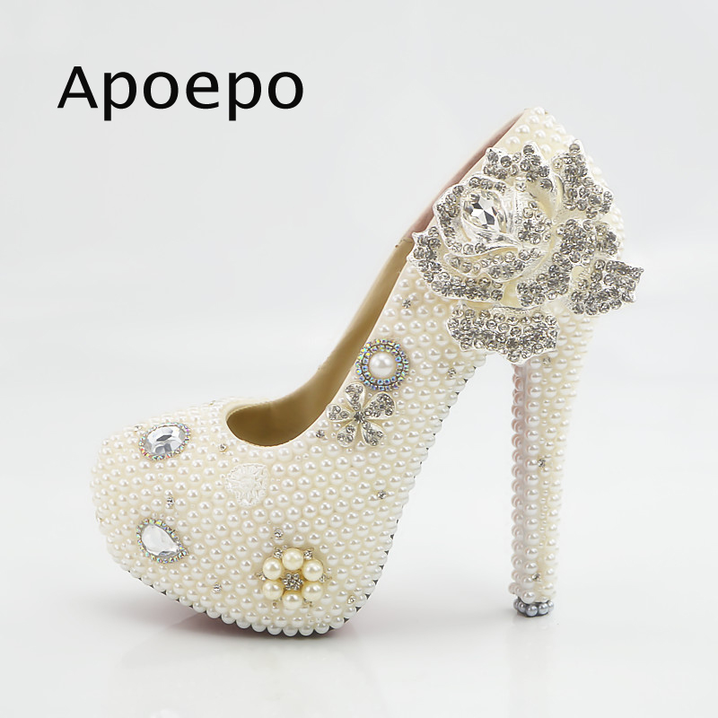 New Newest High Heel Shoes White Crystal Flower Decorations Platform Pumps Big Size Dress Shoes For Woman Wedding Heels handmade crystal pearl beading ankle boots for 2018 woman sweet lace flower platform high chunky heels pumps wedding dress shoes