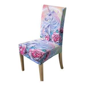 Image 5 - BeddingOutlet Unicorn sandalye kapakları gül karikatür Spandex elastik Slipcover pembe çiçek koltuk kılıfı dekor için düğün ziyafet 1 adet