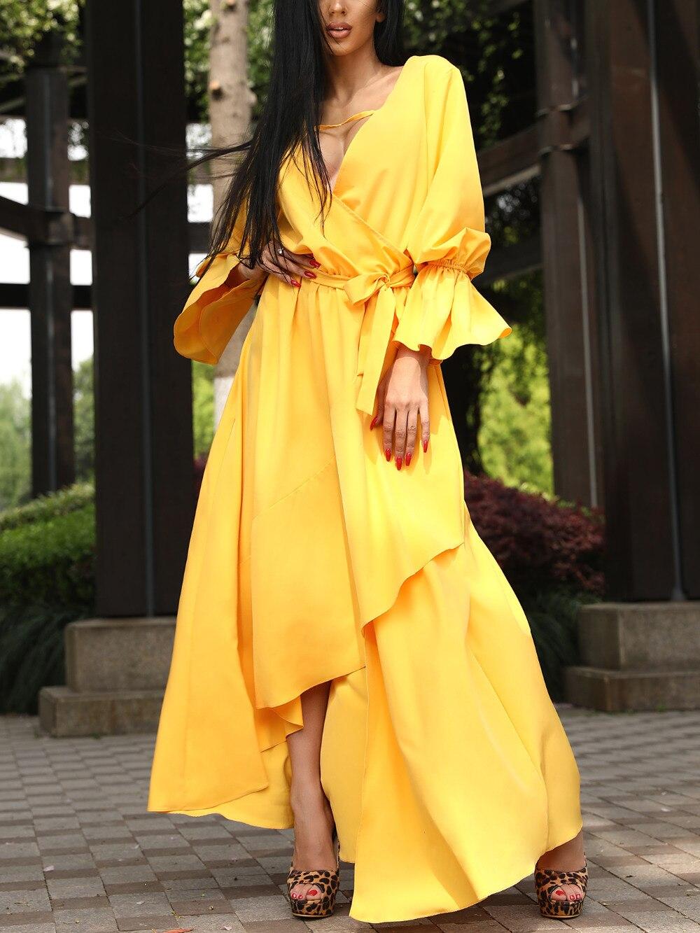 Summer Fashion Solid Color V-Neck Yellow Women Dresses Asymetrical Ruffle Tie Waist Dip Hem Wrap Dress