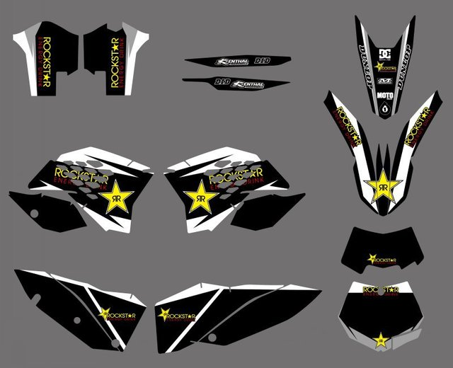 0280 NEW TEAM Black Star GRAPHICS WITH MATCHING BACKGROUNDS FIT FOR KTM SX XC XC-W EXC Series 2008 2009 2010 2011