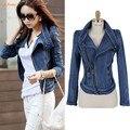 2014 Новый SL мода Звездные джинсы женщин Punk шип шипованных плечами плечо Denim укороченные Vintage куртки пальто B11