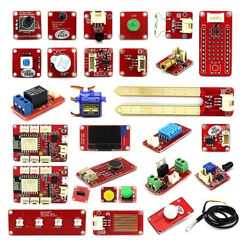 Elecrow ESP8266 NodeMCU IOT Kit bricolage Applications de maison intelligente sans fil esp8266 Module WiFi avec 27 types d'interface Crowtail