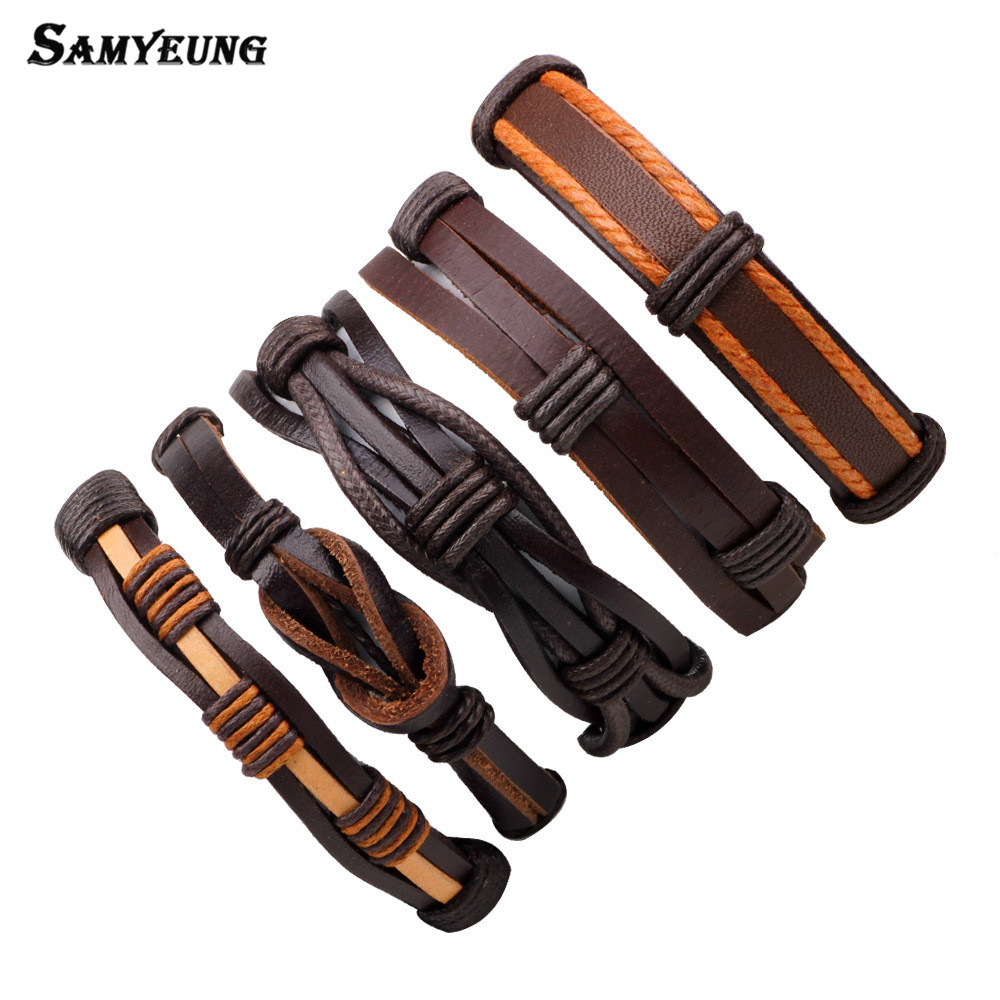 5Pcs Steampunk Brown Leather Bracelet for Best Friend Mens Bracelets 2017 Braslet Homme Bracelete Pulseira Masculina Bijoux Sale