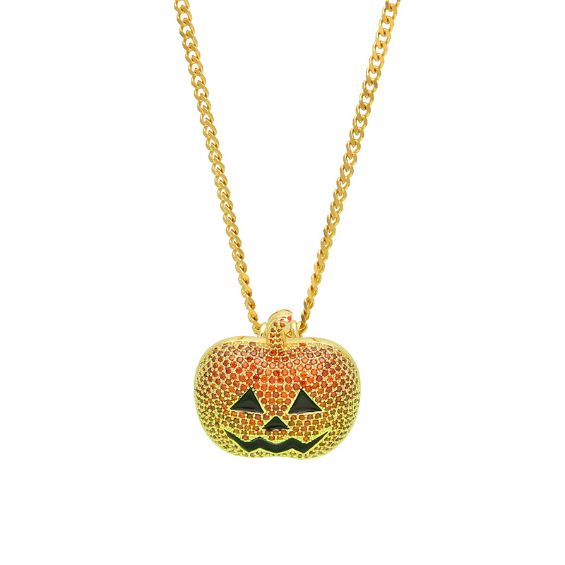 Men Gold/Gun Black Pumpkin Lantern Cubic Zircon Pendant 0.3mm Width Cuban Chain 24inch Chain Hiphop Men Halloween JewelryMen Gold/Gun Black Pumpkin Lantern Cubic Zircon Pendant 0.3mm Width Cuban Chain 24inch Chain Hiphop Men Halloween Jewelry
