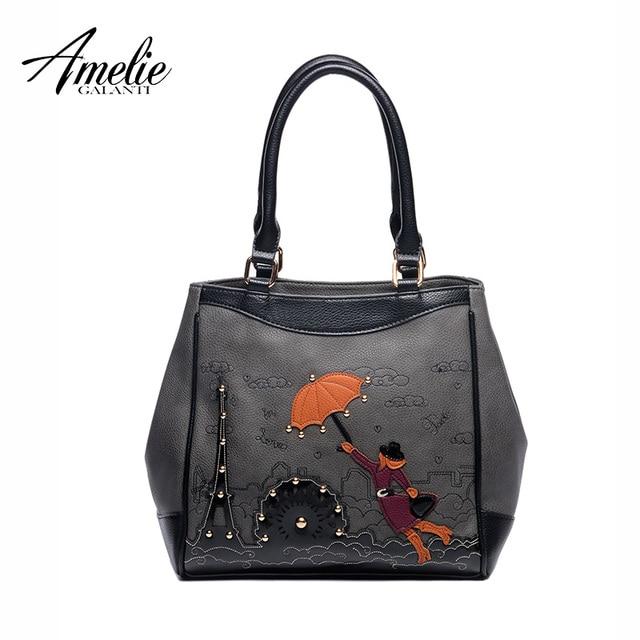 AMELIE GALANTI 2017 women casual Handbags famous designer women Totes Handmade Embroidery Cartoon brand fashion top-handle bag