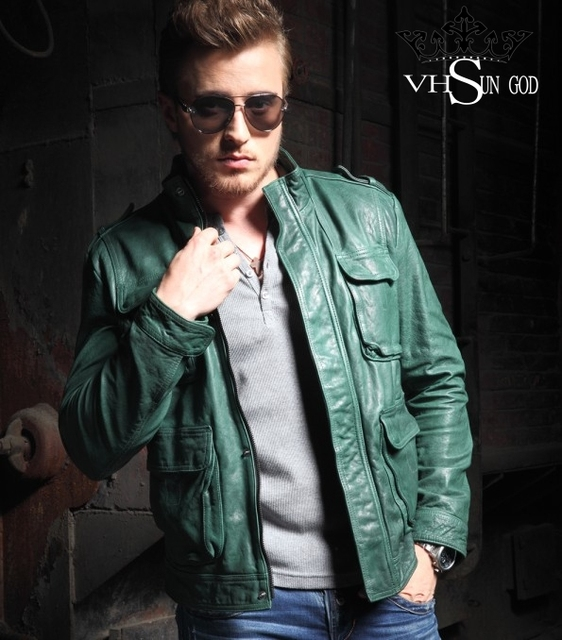 768000de21a9 Fashion Green men s genuine leather jacket imported Multi-pocket Zipper  Short Slim mens leather jackets and coats