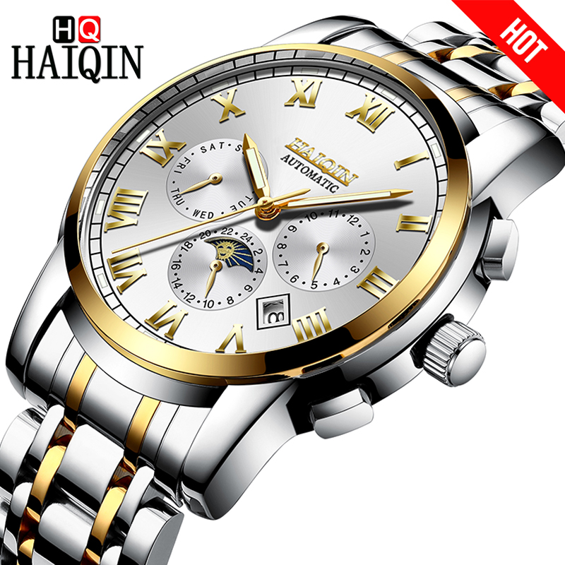 HAIQIN Men Watch Automatic mechanical Luxury Business Moon Phase Watches Waterproof Full steel Wrist watch Male Calendar clock