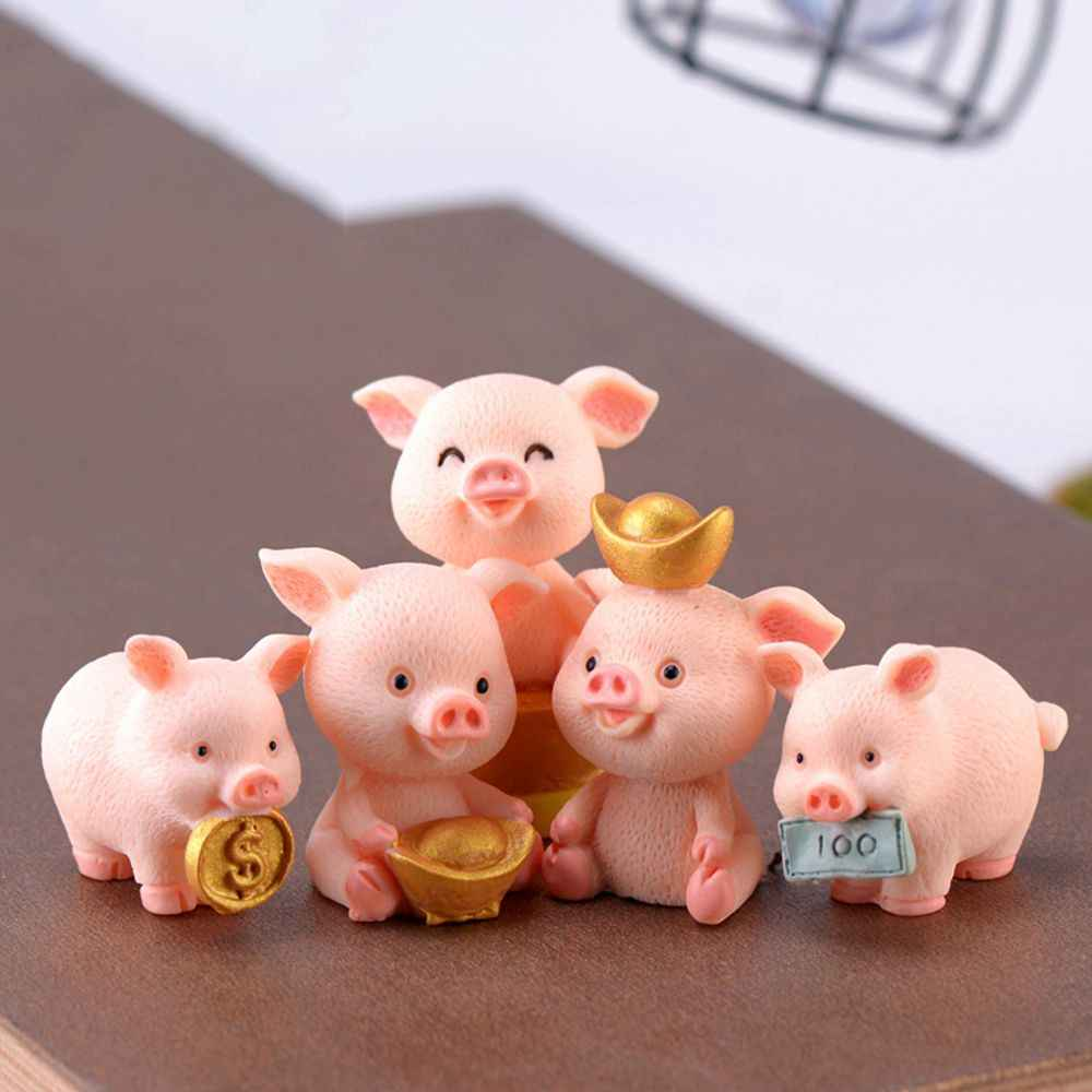 Figurines de cochon miniatures Figurines d'animaux aborables jouets Piggies chanceux décorations de gâteau résine bricolage artisanat projet décor