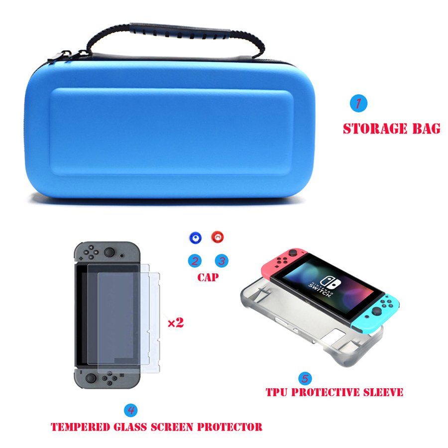 6 in 1 Kit Hard Case Storage Bag for Nintend Switch NS Console&Tempered Glass Screen Protector&TPU Protective Case&Analog caps