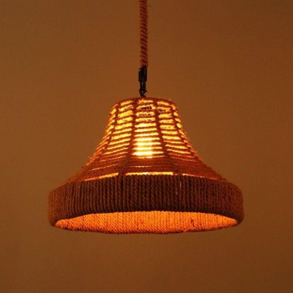 Single Heads Retro Rope Lights Loft Vintage Hand Knitted Hemp Rope Lamp Bedroom Dining Room Pendant Light for Home Lighting