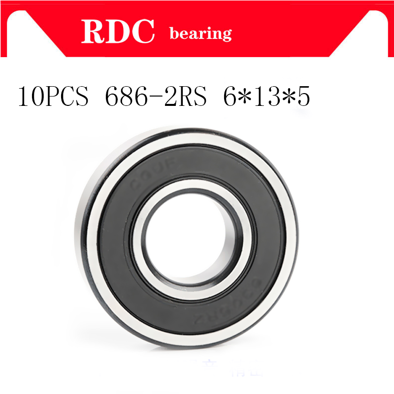 10PCS ABEC-5 686 2RS 686RS 686-2RS 686 RS L1360 6x13x5 mm 6*13*5mm double Rubber seal High quality Deep Groove Ball Bearing gcr15 6326 zz or 6326 2rs 130x280x58mm high precision deep groove ball bearings abec 1 p0