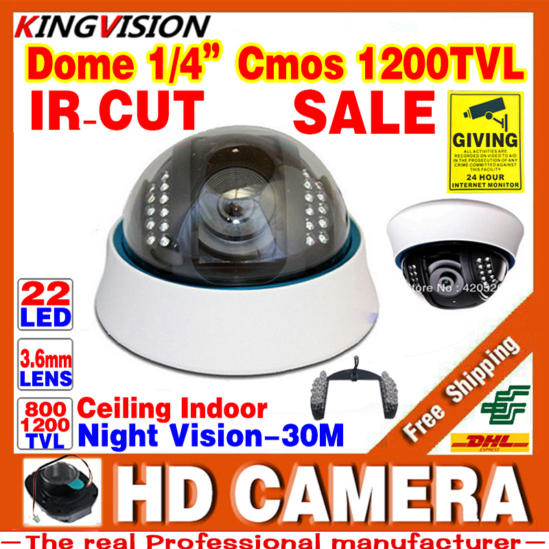 Real 1200tvL 1/4CMOS Hd Dome Surveillance Security CCTV Color Ceiling Analog Camera Indoor Infrared Night/Vision 30m home video hd 1200tvl cmos ir camera dome infrared plastic indoor ir dome cctv camera night vision ir cut analog camera security video cam