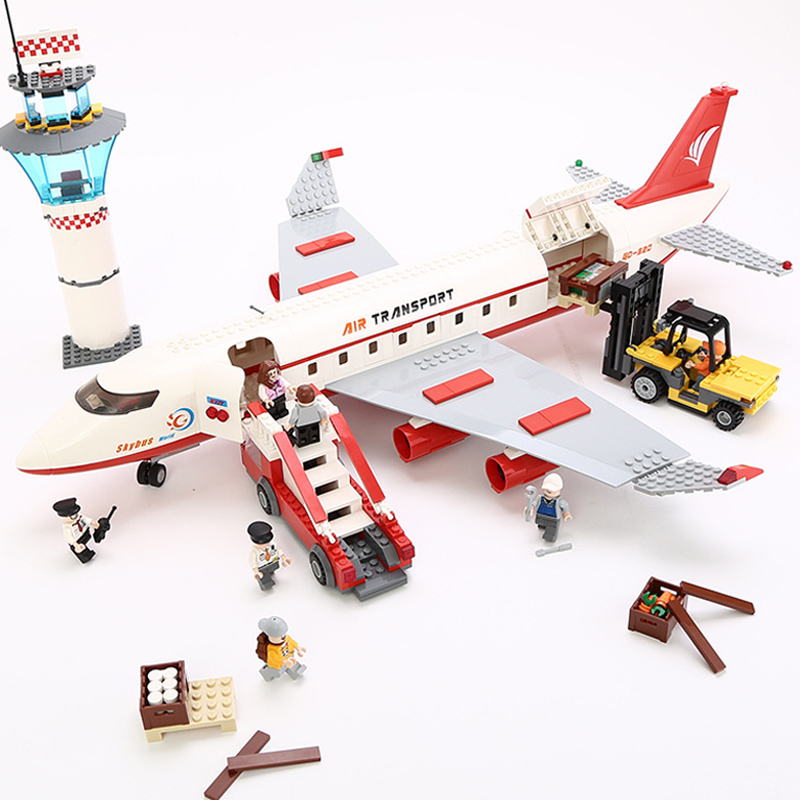 Models building toy Building Blocks Compatible with lego City Passenger Airplane 856 pcs toys & hobbies birthday gift lepin 02012 city deepwater exploration vessel 60095 building blocks policeman toys children compatible with lego gift kid sets