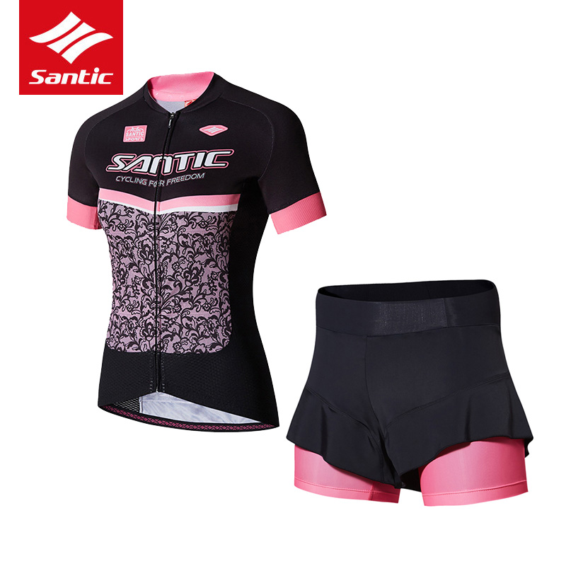 Santic Summer Cycling Jersey Set 2017 Women PRO Cycling Suit Racing Bicycle Sportswear 4D Sponge Padded Shorts Roupa Ciclismo
