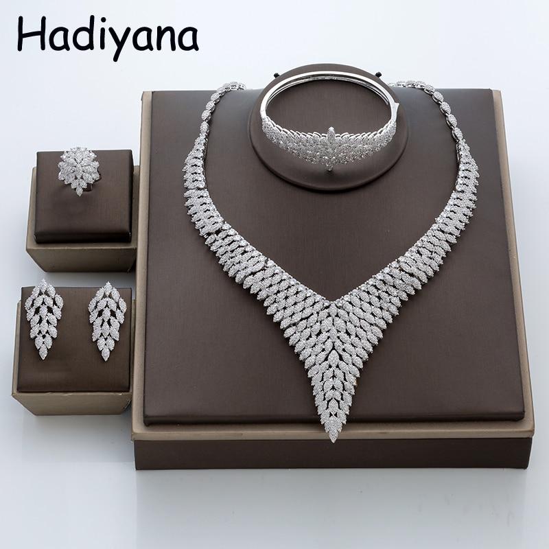 все цены на Hadiyana Fashion Leaf Design Women Jewelry 4pcs Set New CZ Dubai Big Necklace Jewelry Sets With Earring Bangle and Ring TZ8007