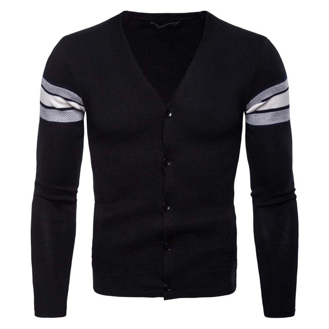 2018 Männer Pullover Schwarz Herbst Männer Strickjacke Blusen V Kragen Pullover Jersey M-xxl