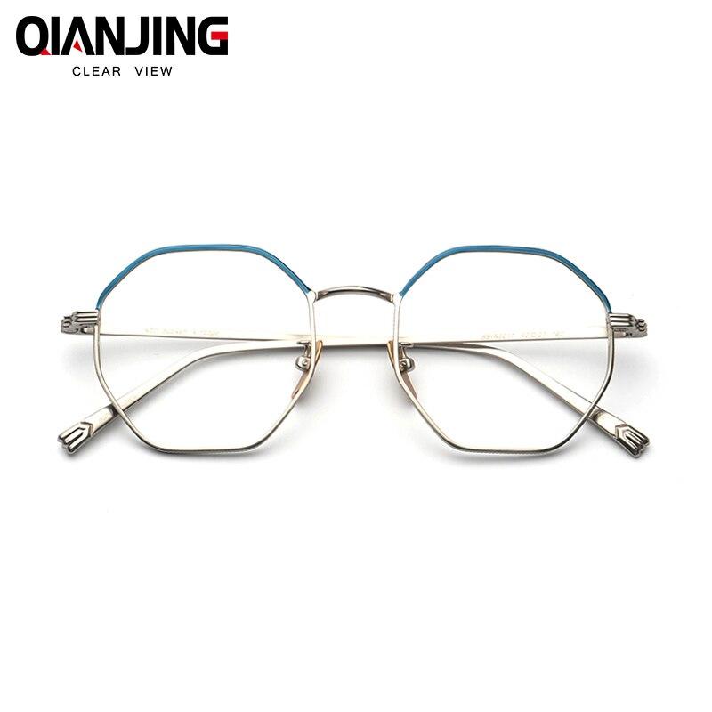 20c43a7227 QJ Pure titanium polygons retro glasses frame female irregular octagonal myopia  frames men fine full color match with myopia-in Eyewear Frames from Apparel  ...