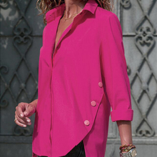 Сексуальные шифоновые рубашки с v-образным вырезом, женские модные Необычные Блузы с длинным рукавом, однотонные рубашки с отложным воротником, ropa mujer WS9817U