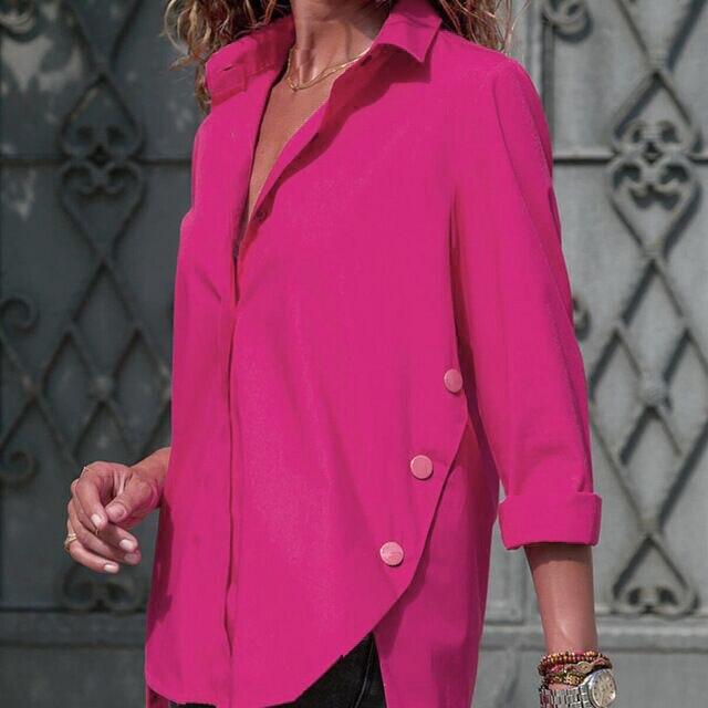 Sexy V Neck Chiffon Shirts Womens Fashion Long Sleeve Irregular Blouses Solid Color Turn-Down Collar Shirts Ropa Mujer WS9817U