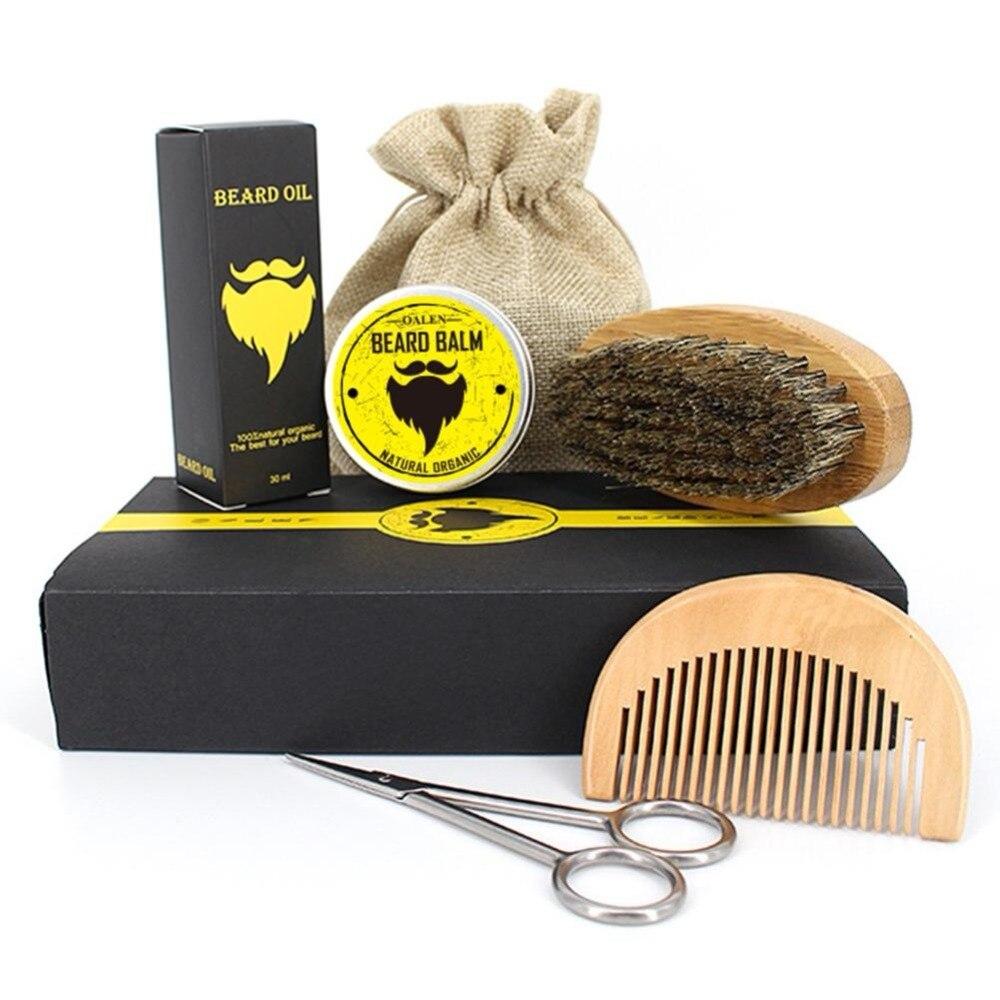 Men Beard Oil Kit With Beard Oil , Brush,Comb,Beard Cream Scissors Grooming & Trimming Kit Male Beard Care Set