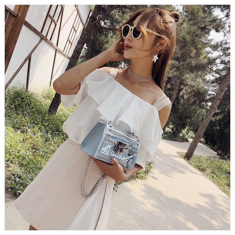 18 Summer Fashion New Handbag High quality PVC Transparent Women bag Sweet Printed Letter Square Phone bag Chain Shoulder bag 7