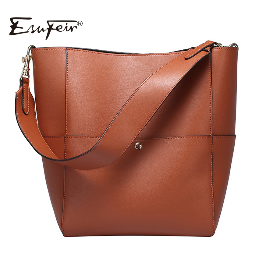 2016 ESUFEIR Brand Genuine Leather Women Handbag Large Capacity Women Bucket Bag Fashion Women Shoulder Bag Female Casual Tote 2017 esufeir brand genuine leather women handbag fashion shoulder bag solid cowhide composite bag large capacity casual tote bag