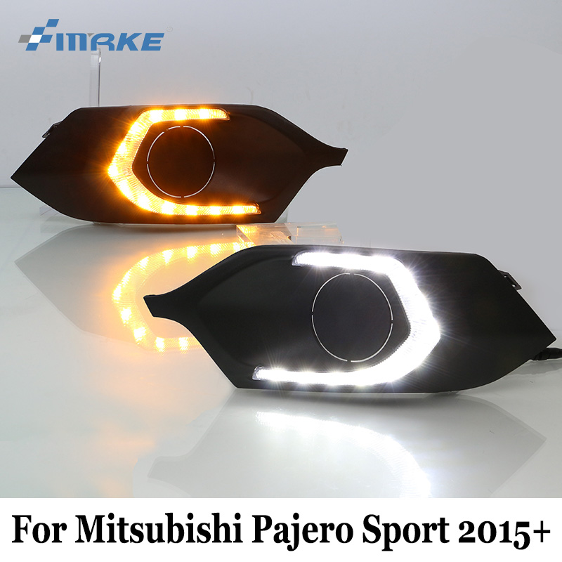SMRKE DRL For Mitsubishi Pajero Sport 2015~Present / Car Daytime Running Lights & Cornering Lamp / Two-colour Car Styling защита кпп автоброня 111 04047 1 mitsubishi l200 2015 mitsubishi pajero sport 2016 2 4d 3 0