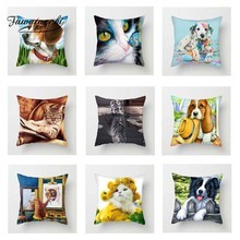 Fuwatacchi Animal Cushion Cover Cat Throw Pillow Case Puppy Pillow Cover Dog Wolf Square Decorative Pillowcase for Home Sofa цена