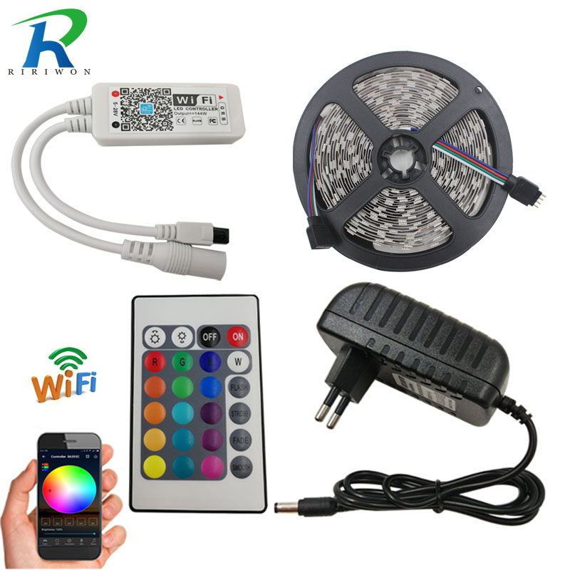 RiRi won LED Strip light SMD RGB 2835 DC 12V Waterproof led light tape diode flexible ribbon WiFi controller adapter set