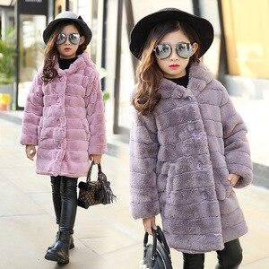 Image 5 - Inverno da menina imitação casaco de pele 2020 meninas grosso fluff casaco quente crianças roupas do bebê criança grosso mais veludo casaco atacado