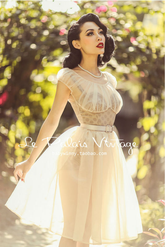 FREE SHIPPING Le Palais Vintage limited edition retro elegant perspective nude fairy dress bra set