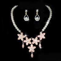Nouveau femmes mode fleur strass de mariée collier boucles d'oreilles perles bijoux perles africaines ensembles de bijoux robe de mariée accessoires