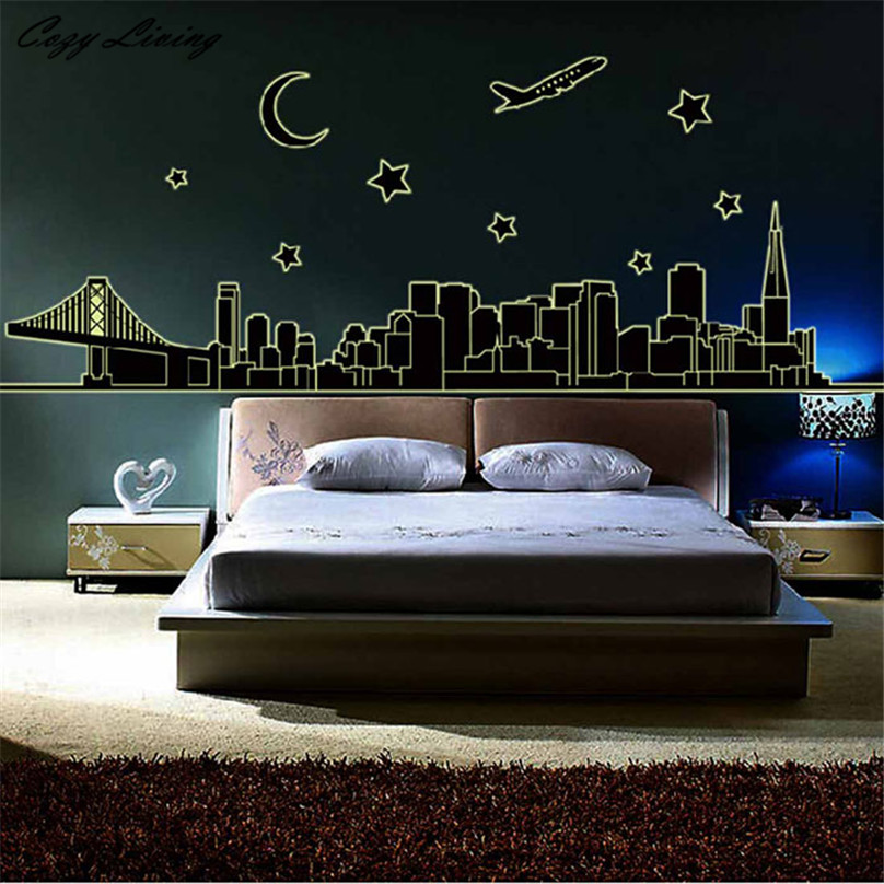 luminous wall stickers night city removable fluorescence glow in