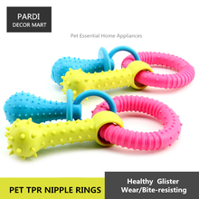 TPR eco-friendly pet toy rubber nipple rings shape pet toy molar toy bite resistance pet training essential 1pc/lot