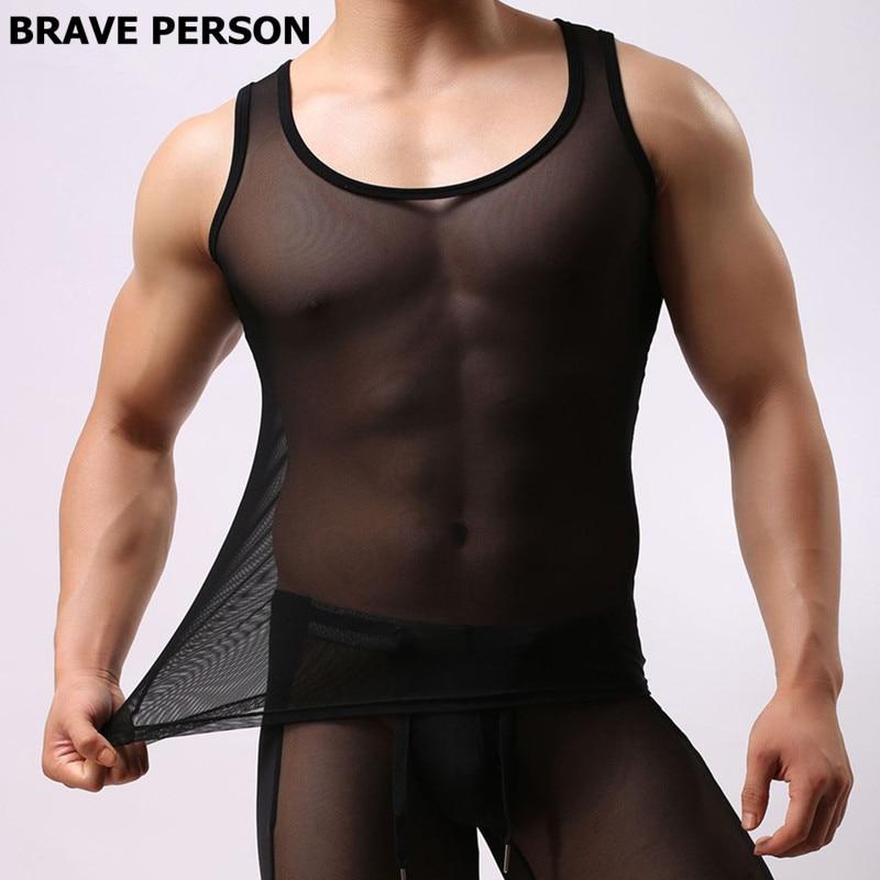 Brave Person Brand Clothing Men Sexy Transparent Undershirts Male O-neck Slim Thin Vest Ice Silk Tight Undershirt Tank Tops