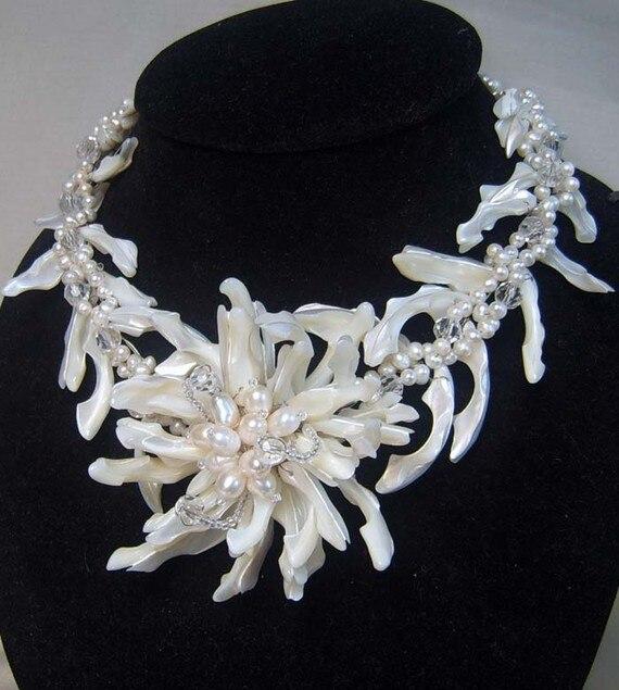 Demoiselle d'honneur cadeaux Bijoux En Perles, Collier de Fleur de Câble Avec Mop Perles D'eau Douce Quartz