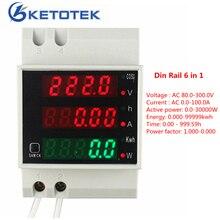 Din Rail AC 80-300V 0-100.0A Ammeter Voltmeter LED Volt Amp Meter Display Active Watt Power Factor Time Energy Voltage Current
