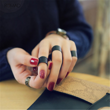 Romad Ring Set For Women Black Stack Plain Above Knuckle Band Midi Rings Punk Jewelry Gift Girl 3 pcs / set bague femme W3
