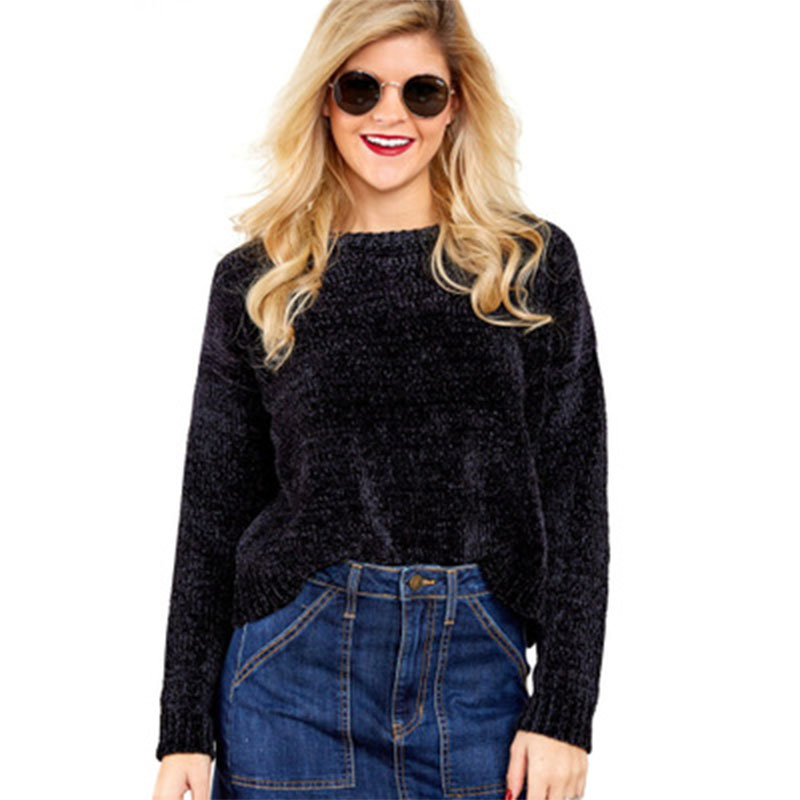2018 noël vêtements femmes pulls et chandails tricotés Vintage velours pull Kawaii noir haut court rose chandail doux