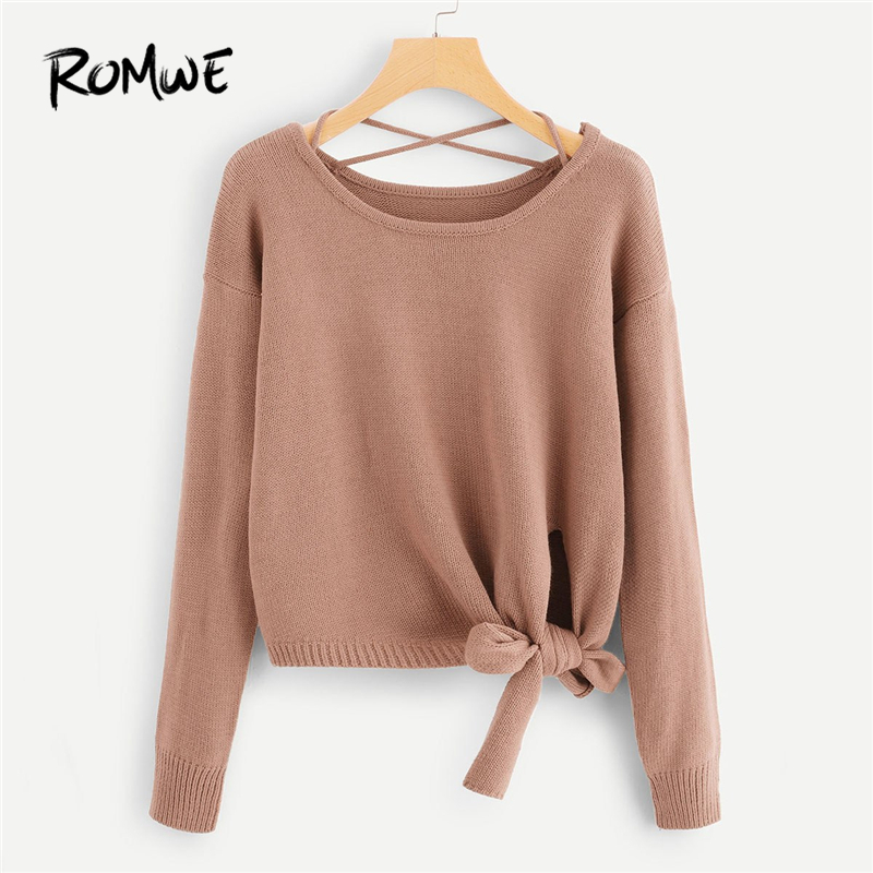ROMWE Pink Knot Side Criss Cross Back Sweater Women Clothing