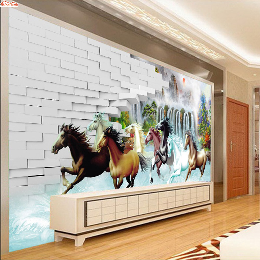 ShineHome-Large Running Horse Brick Photo 3 d Wallpaper for 3d Murals for  Walls Roll