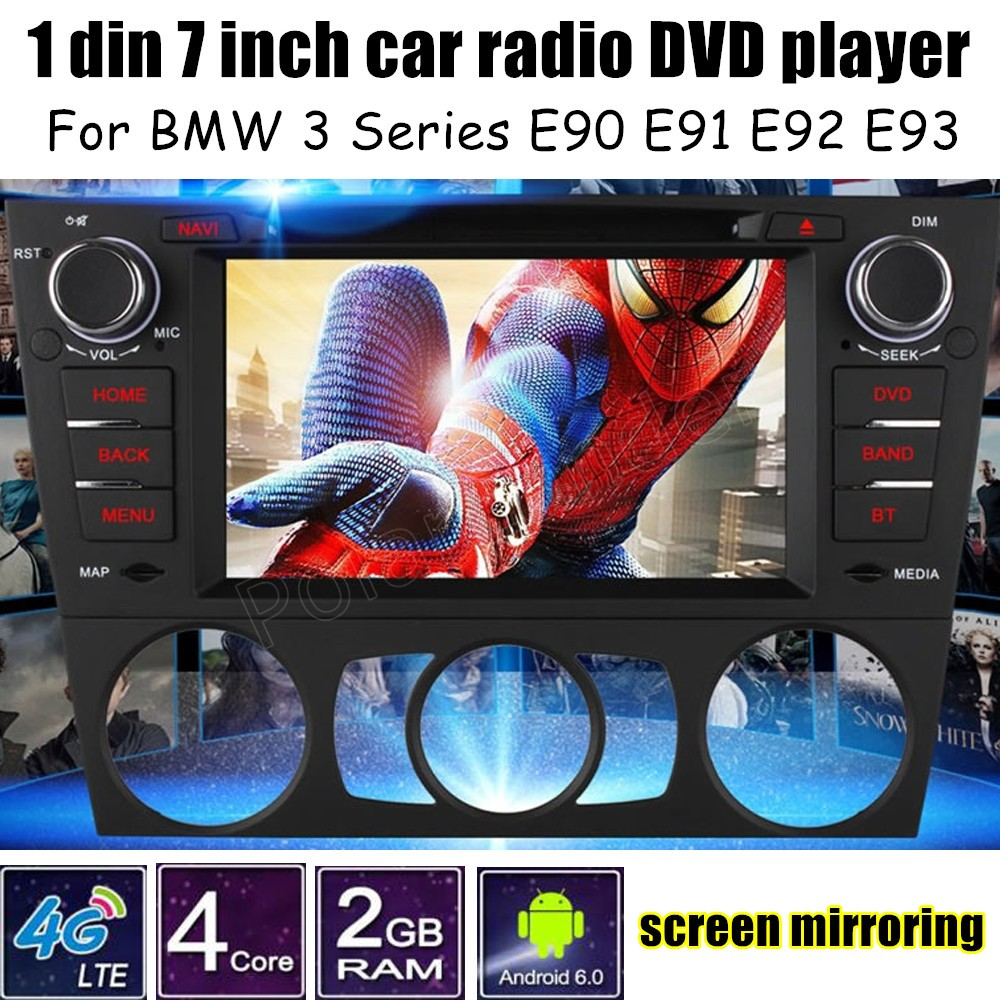 For B/MW <font><b>3</b></font> Series E90 E91 E92 E93 Android 6.0 Car Stereo Radio <font><b>7</b></font> Inch 1 Din DVD Player GPS screen mirroring Bluetooth image