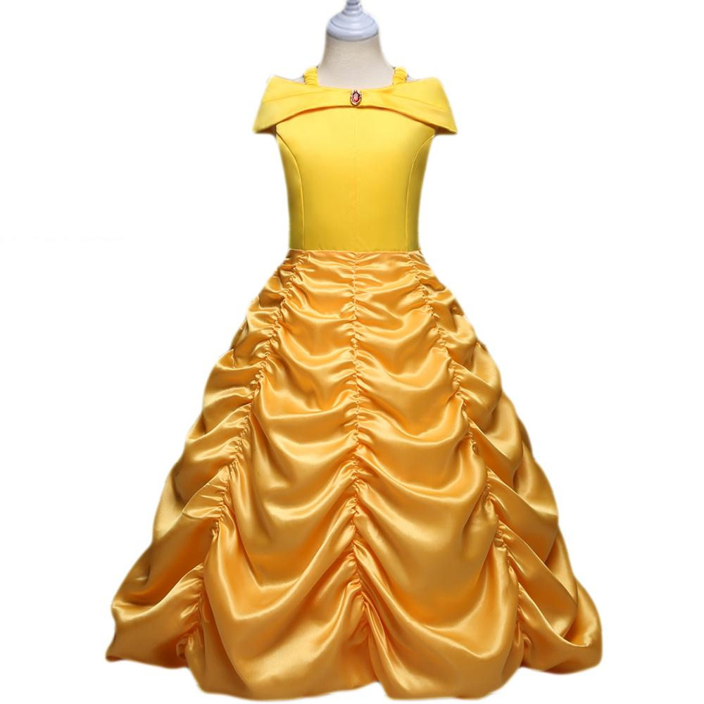 Girls Dress Princess Belle Beauty And The Beast Kids Dress Up Halloween Cosplay Costume Girl Prom Clothing Yellow Layered Dress