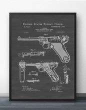 Лугер Пистолет Патент blueprint настенная художественная краска