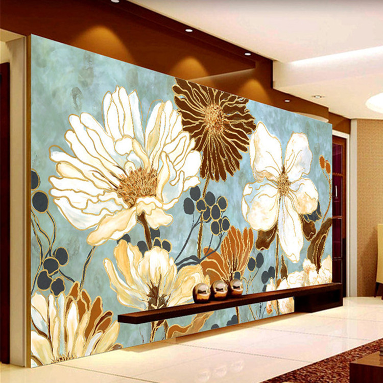 Vintage 3d wallpaper painting flowers wall murals custom for Antique wallpaper mural