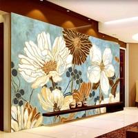 Vintage 3D Wallpaper Painting Flowers Wall Murals Custom Photo Wallpaper Kid Bedroom Kitchen Art Room decor Shop Interior design