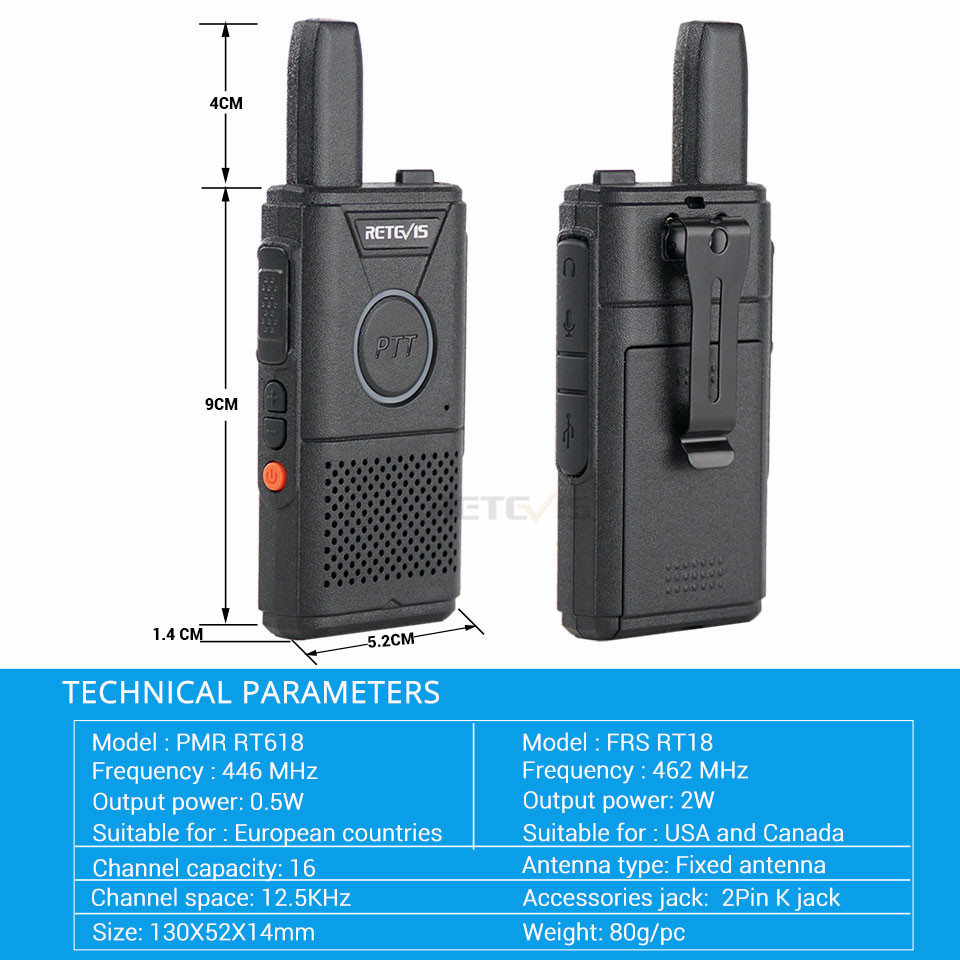 Image 5 - 2pcs Retevis RT618 Mini Walkie Talkie Radio Station Ultra thin Dual PTT Two Way Radio Portable FRS PMR446 Frequency hopping-in Walkie Talkie from Cellphones & Telecommunications