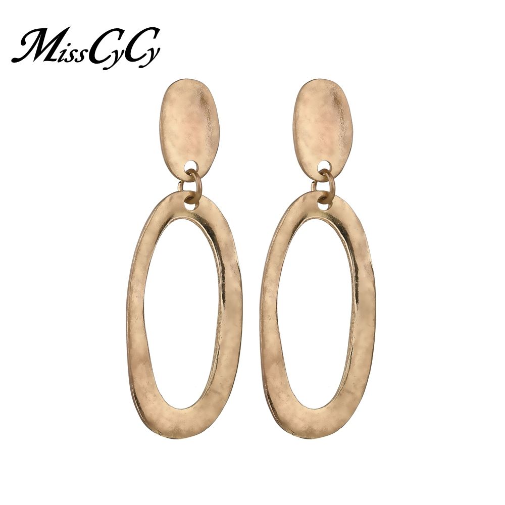 MissCyCy Vintage Irregular Geometry Stud Earrings for Women 2018 New Fashion Alloy Long Earrings Jewelry Gift