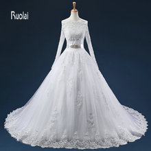 Ruolai Ball Gown Wedding Dresses With Sweep Train
