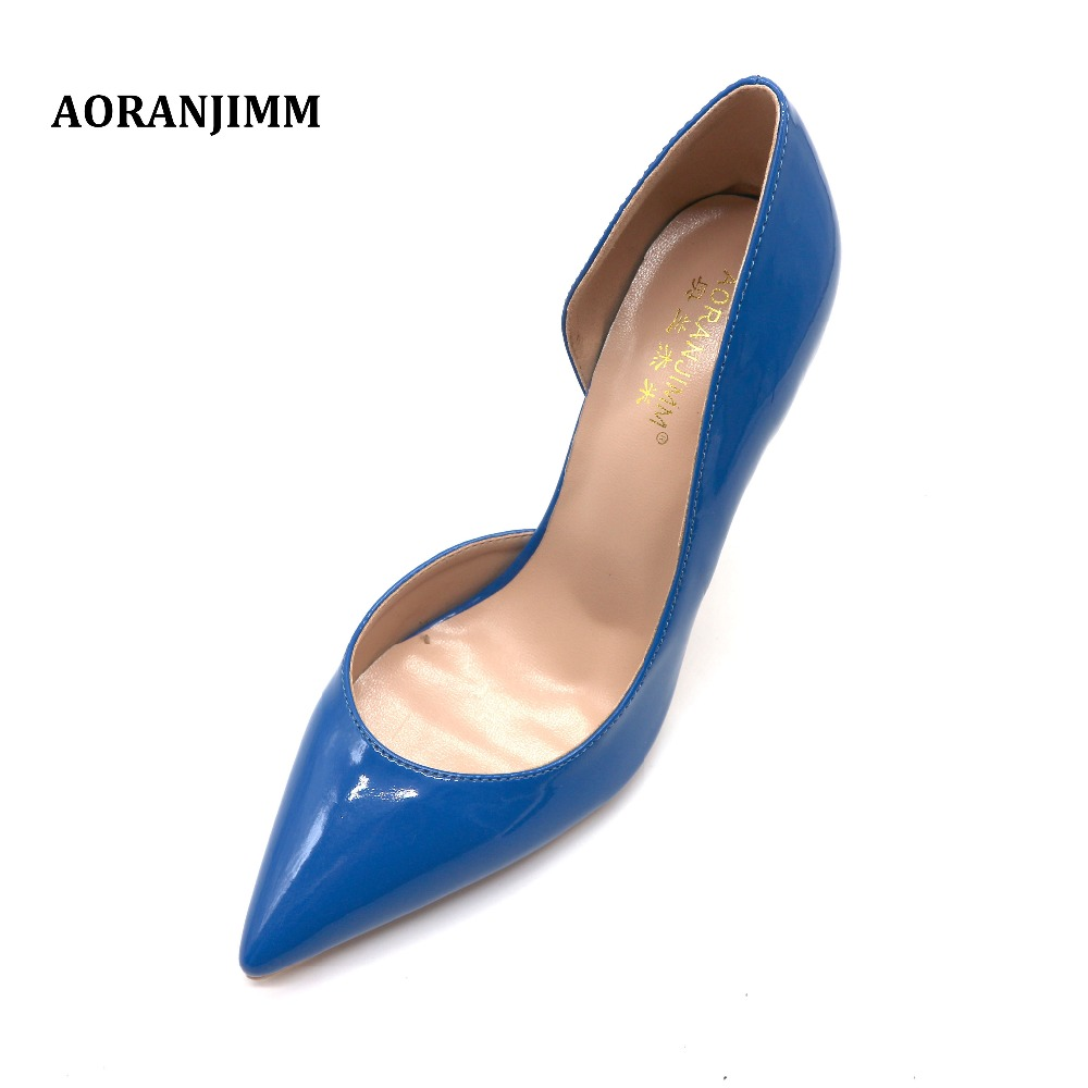 09836d9af06f7 Free shipping real picture AORANJIMM hot sale royal blue patent leather  pointed toe D'Orsay women lady girl 120mm high heel shoe